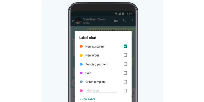 whatsapp marketing label chat