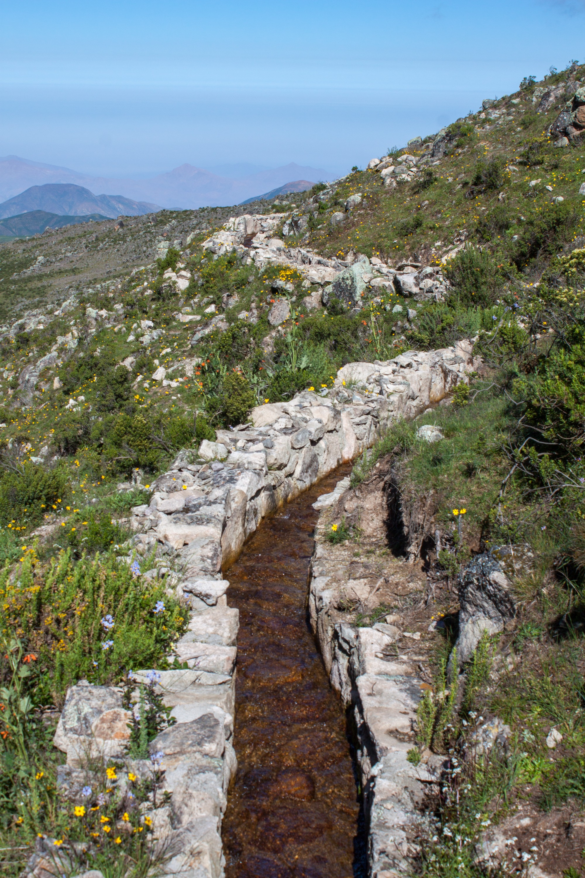 A diversion canal as part of the pre-Inca infiltration system