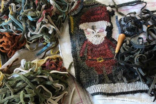 primitive rug hooking santa