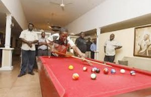 Lungu playing pool in Eastern province