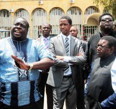 President Edgar Lungu watches as Chishimba Kambwili speaks to journalsit in Lusaka-Picture by Tenson Mkhala