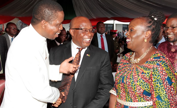 President Edgar Lungu speaks to Nevers Mumba and wife Florence Mumba-Picture by Tenson Mkhala