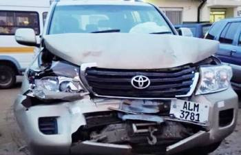 Former Information minister Chishimba Kambwili's vehicle after being involved in an accident recently