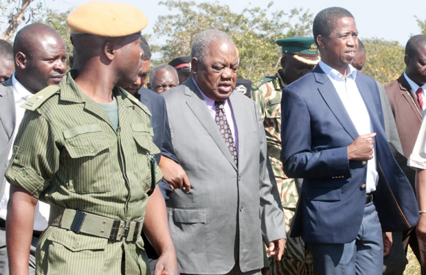 President Edgar Lungu with former president Rupiah Banda at Lusaka National Park-Picture by Tenson Mkhala