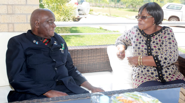 Dr Kenneth Kaunda with Higher Education minister Nkandu Luo at his residence in Lusaka's State Lodge-picture by Tenson Mkhala