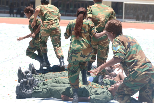 Zambia Army perform at Lusaka's Heroes Stadium -Picture by Tenson Mkhala