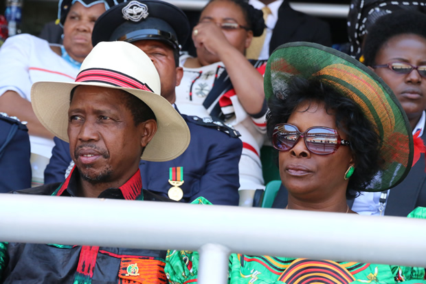 President Edgar Lungu with wife Esther at Heroes Stadium in