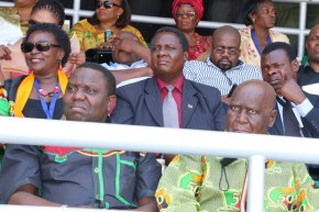 Dr Kenneth Kaunda with Foreign Affairs Minister Harry Kalaba at Heroes Stadium in Lusaka-Picture by Tenson Mkhala