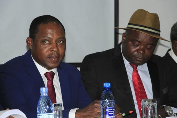 Former FAZ president Kalusha Bwalya with former deputy sports minister Ronald Chitotela in Kitwe-picture by Tenson Mkhala