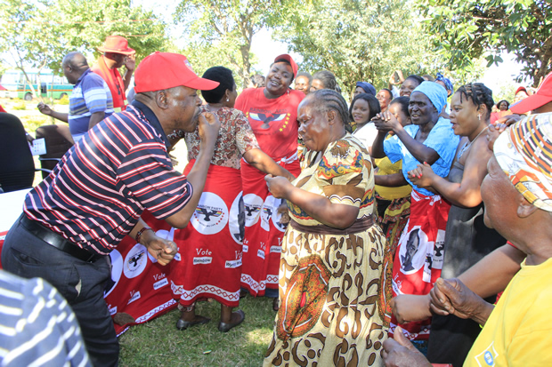 Rainbow Leader Wynter Kabimba with party supporters at TICK school in Lusaka-Picture by Tenson Mkhala