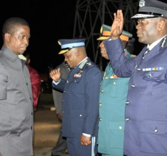President Edgar Lungu with Inspector General of Police Kakoma Kaganja at KKIA in Lusaka-Picture by Tenson Mkhala