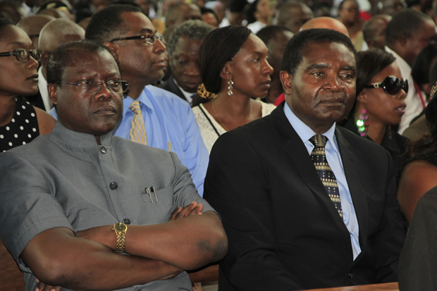 Former Justice minister Ngosa Simbyakula and Heritage party leader Geoffrey Miyanda-picture by Tenson Mkhala