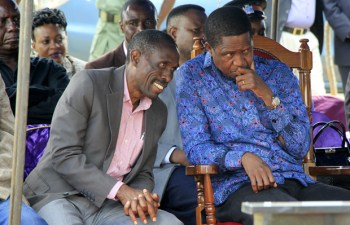 President Edgar Lungu with Chawama MP Lawrence Sichalwe in Lusaka-picture by Tenson Mkhala