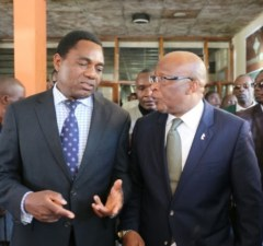 UPND President Hakainde Hichilema and MMD facation President Nevers Mumba: File picture