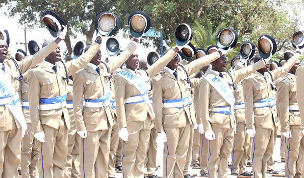 Zambia police during a pass out parade in Lilayi police college-Picture by Tenson Mkhala