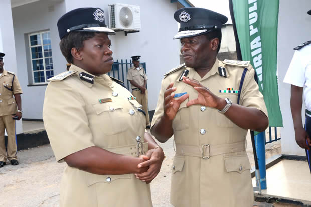 Former Inspector General of Police Stella Libongani with deputy Solomon Jere in Lusaka-Picture by Tenson Mkhala