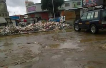A pile of garbage on one of Lusaka's flooded streets today January 19, 2017