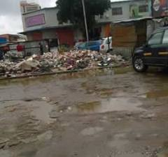 A pile of garbage on one of Lusaka's flooded streets today January 19, 2017: File picture