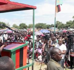 President Lungu addressing Samfya residents on 10th February 2017 : File picture