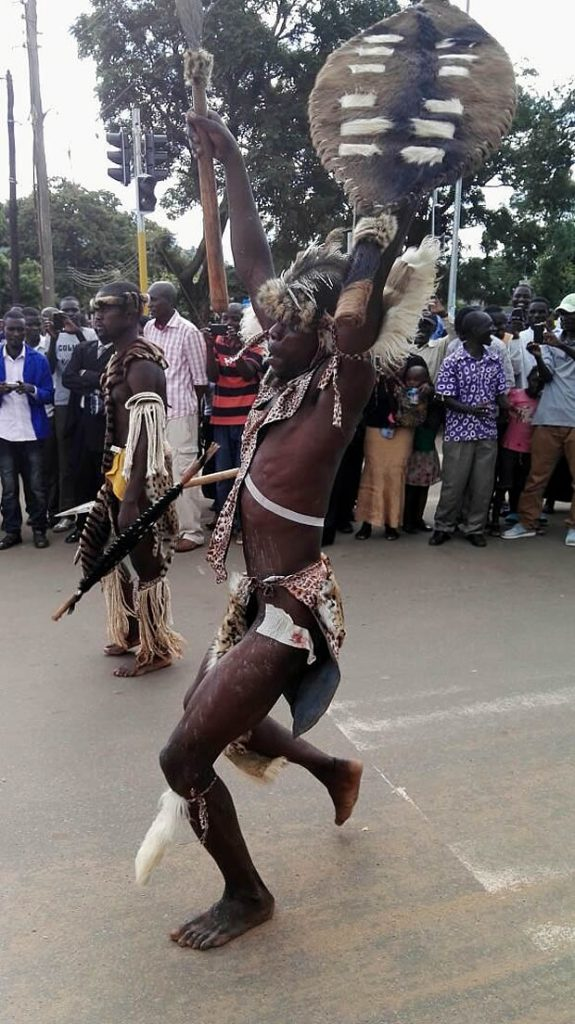 The Impis of the Ngoni people performs during the 2017 N'cwala ceremony in Chipata