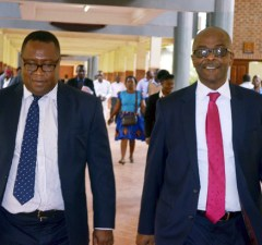 Former Attonny general Musa Mwenye with Nchima Nchito at Lusaka Magistrates Court -Picture by Tenson Mkhala