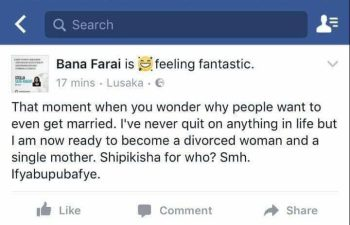 Screenshot of Stella Sata Rukayis status which she later deleted