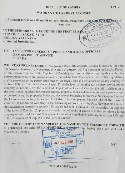 Fred M'membe's warrant of arrest