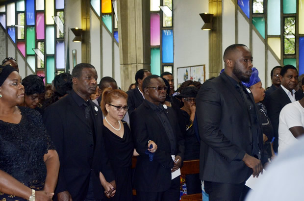 Late Regina Chiluba's family during funeral church service at Cathedral of the Holy Cross in Lusaka-picture by Tenson Mkhala