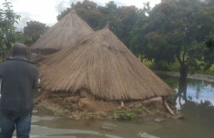 One of the collapsed houses in Keembe