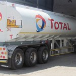 A Total fuel tanker at offloading bay