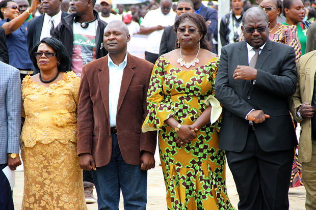 L-r: Higher Education minister Nkandu Luo, PF deputy spokesperson Frank Bwalya, Emerine Kabanshi and Health minister Dr Chitalu Chilufya during Youth Day celebrations in Lusaka-picture by Tenson Mkhala