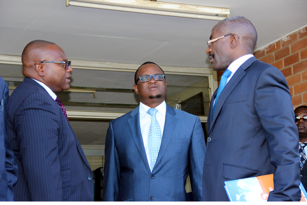 L-r: Lawyer Robert Simeza, Gilbert Phiri and Mulambo Haimbe at Lusaka High Court-picture by Tenson Mkhala