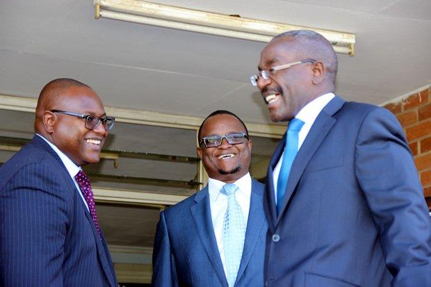L-r: Lawyer Robert Simeza, Gilbert Phiri and Mulambo Haimbe at Lusaka High Court-picture by Tenson Mkhala