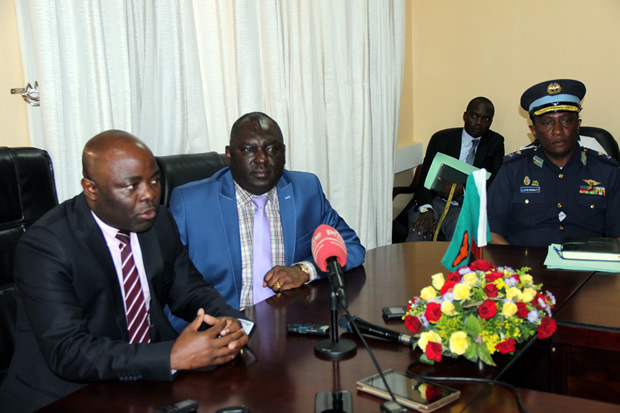 Defense minister Davis Chama with Home Affairs counterpart Stephen Kampyongo and deputy Inspector General of Police during a joint press briefing in Lusaka -picture by Tenson