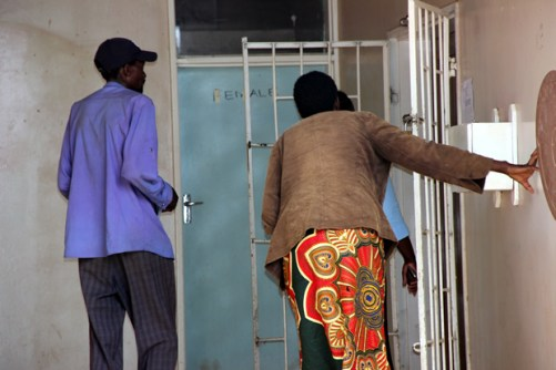 Patients turned away by security guards after the closure of Lusaka's Chainama clinic-picture by Tenson Mkhala