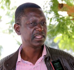 UPND's Likando Mufalali speaks to journalist in Lusaka-picture by Tenson Mkhala