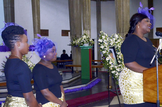 Late Regina Chiluba's daughter at the funeral church service at Cathedral of the Holy Cross in Lusaka-picture by Tenson Mkhala