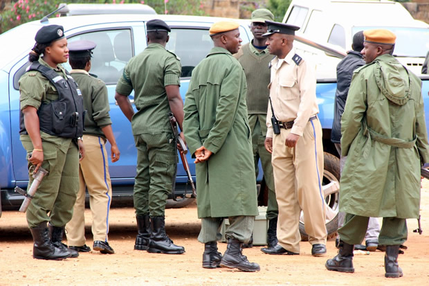 Police officers at Lusaka's Magistrates Court-Picture by Tenson Mkhala