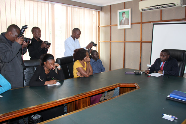 Foreign Affairs minister Harry Kalaba at a press briefing -picture by Tenson Mkhala