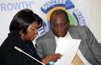 Commerce minister Margaret Mwanakatwe with COMESA assistant secretary general Ambassador Dr Kipyego Cheluget during the Zambia public and private dialogue in Lusaka-picture by Tenson Mkhala