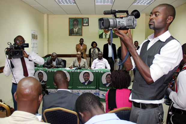 PF deputy secretary general Mumbi Phiri during a press briefing at the party Secretariat in Lusaka-picture by Tenson Mkhala