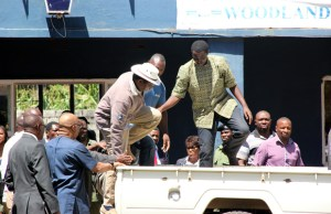 Hakainde Hichilema at Woodlands police station after being arrested-picture by Tenson Mkhala