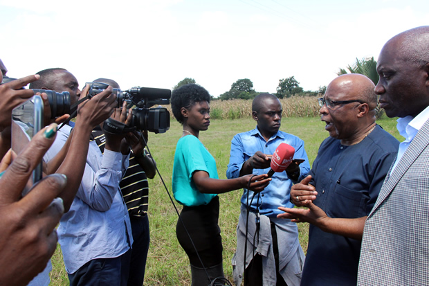 Nerves Mumba speaks to journalist at Lilayi tourn off shortly after being blacked by police officers-picture by Tenson Mkhala