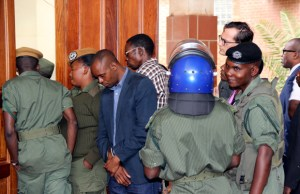 Police officers during HH court hearing at Lusaka Magistrates Court-picture by Tenson Mkhala