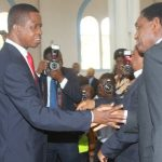 President Edgar Lungu greets Hakainde Hichilema at Michael Sata's memorial in 2015