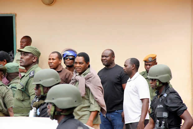 UPND leader Hakainde Hichilema being taken back to Lusaka Central Prison after appearing at Lusaka's Magistrates Court-picture by Tenson