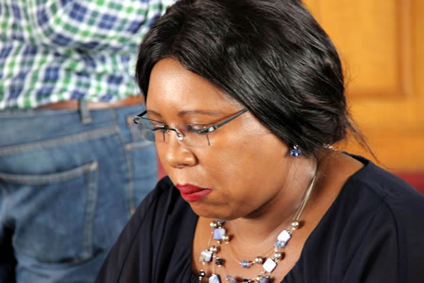 Agriculture minister Dora Siliyaduring a stakeholder consultative meeting on the fruits, vegetables and livingstock sector in Zambia-picture by Tenson Mkhala