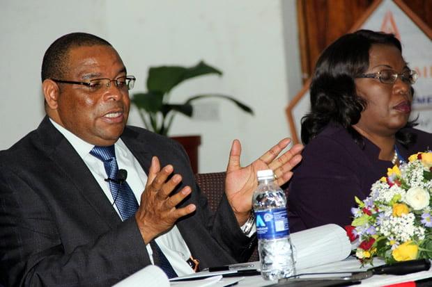 Bank of Zambia governor Dr Denny Kalyalya speaks to journalist – picture by Tenson Mkhala