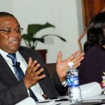 Bank of Zambia governor Dr Denny Kalyalya speaks to journalists - picture by Tenson Mkhala