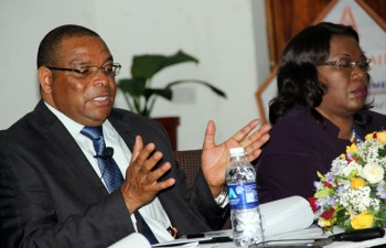 Bank of Zambia governor Dr Denny Kalyalya speaks to journalist - picture by Tenson Mkhala